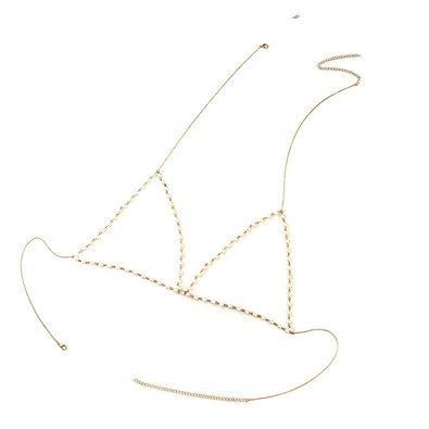 9aad0b6e70 Amazon.com  Jili Online Classic Faux Pearl Bikini Bralette Chain Harness  Necklace Crossover Body Chain for Women Ladies - Gold  Jewelry