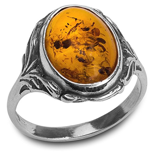 - Sterling Silver Amber Classic Oval Ring