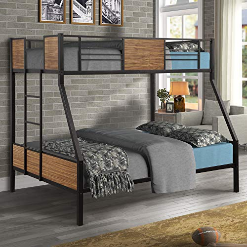 Twin Over Full Bunk Bed, Hinpia Rustic Metallic Bed Frame with Safety Guard Rail and Ladder for Kids, Teens, Boys, Girls, Adults, Bedroom and Guest Room