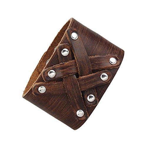 Jenia Wide Handmade Bracelet Braided Cuff Bangle Leather Men's Jewelry Adjustable