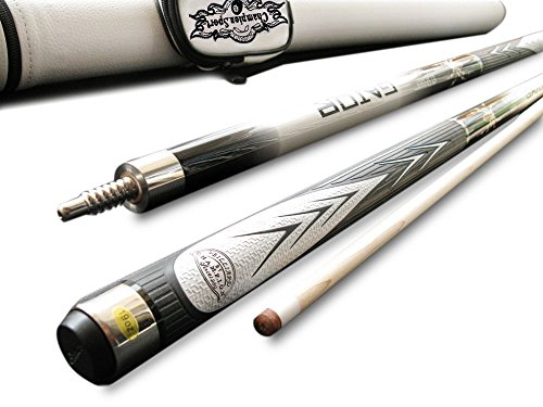(Champion Spider White Billiards Maple Pool Cue Stick 18 oz, White Pool Cue Case, Champion Glove)