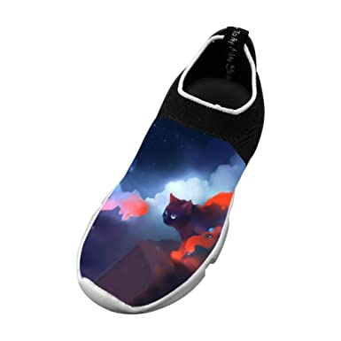 Sports Flywire Weaving Leisure Shoes For Unisex Kids,Print Cat,
