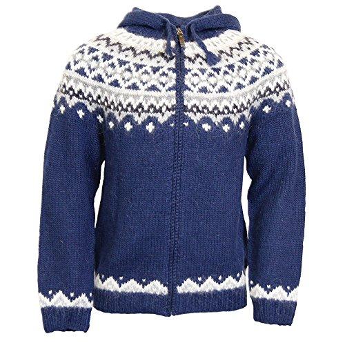 ICEWEAR Skjoldur Men's Sweater Hand Knitted Design - 100% Icelandic Wool Jumper with Zip and Hood Design   Blue - Medium - Sweaters Wool Icelandic
