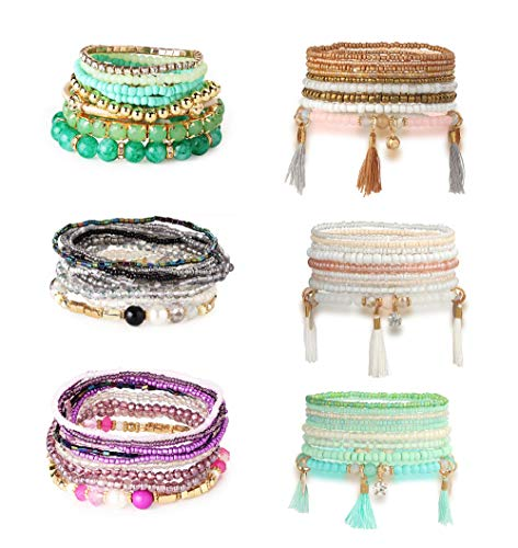 Hanpabum 6 Sets Bohemian Beaded Bracelets for Women Girls Multicolor Stretch Multilayered Stackable Bracelet Set
