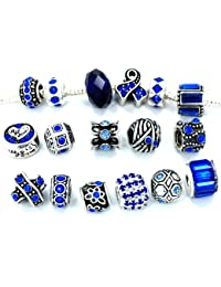 Ten (10) of Assorted Crystal Rhinestone and Silver Spacers for Charms Bracelets (Blue Crystal)