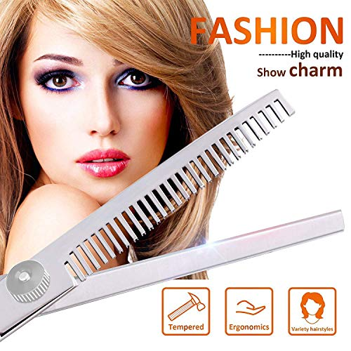 Hair Cutting Scissors Shears and Barber Thinning Salon Razor Edge Tools Set Mustache Scissors with Fine Adjustment Screw Japanese Stainless Steel Kit (Silver)
