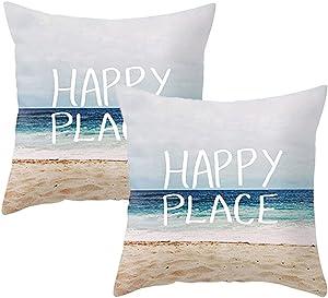 LEIOH Home Decor 2 Pack Summer Decor Cotton Linen Happy Place Beach Decor Pillow Covers Throw Pillow Case Cushion Cover 18 x 18 Inch