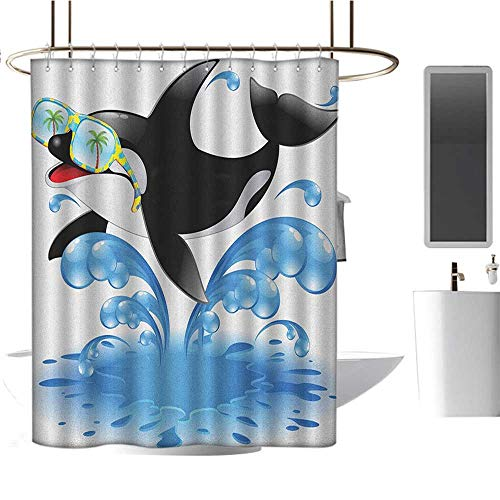 MKOK Decorative Shower curtain54 x78 Funny,Summer Holiday Ocean Cute Jumping Killer Whale with Sunglasses Cartoon Animal Love Black Blue,Washable,Durable,Brick Dobby Pattern for Bathroom -