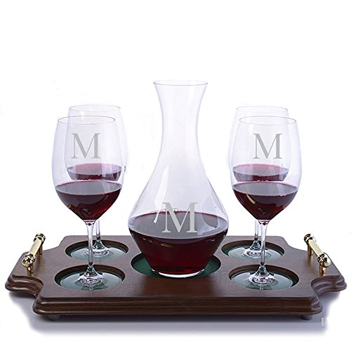 Personalized Riedel Crystal Cabernet Magnum Wine Decanter and 4 Crystal Riedel Vinum Cabernet Sauvignon/Merlot (Bordeaux) Stemmed Wine Glasses & Wood Serving Presentation Tray Engraved & Monogrammed (Chianti Tray)