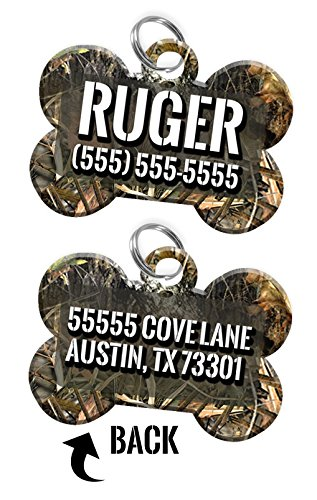 Double-sided Camo Custom Dog Tag Personalized for Pets with Name & Number on the front & address on the back (Tree)