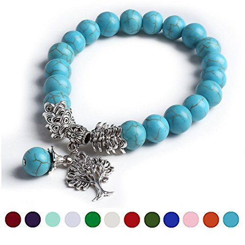 irthstone Bead Bracelet, Cat Eye Jewels Tree of Life Silver Charm Bracelets for Women Men H12 (Cat Eye Cat Charm Bracelet)