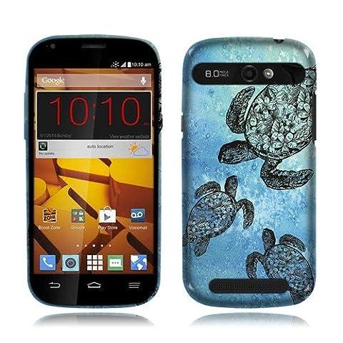 Nextkin ZTE Warp Sync N9515 Silicone Skin Soft TPU Gel Protector Cover Case - Ocean Sea Turtle (Zte Warp Sync Rubber Phone Case)