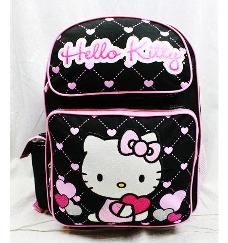 Hello Kitty Backpack Black - Glitter Purple Heart ()