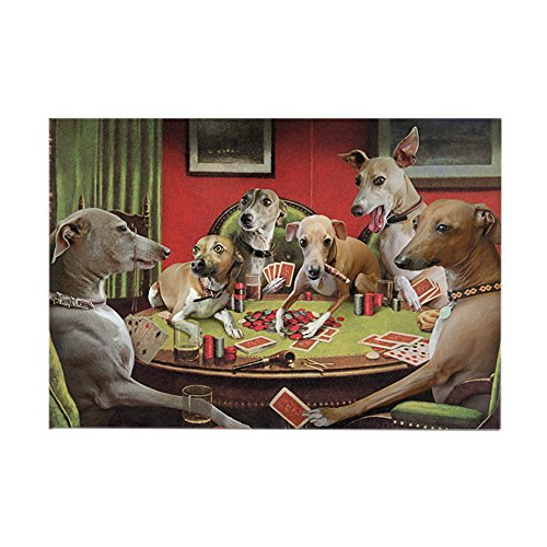 CafePress Italian Greyhound Poker Dogs Rectangle Magnet, 2