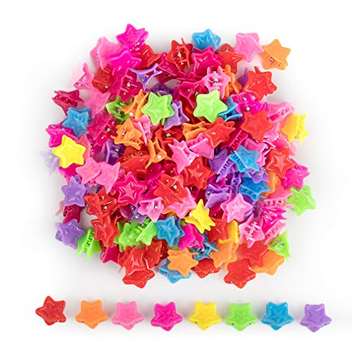 (GAUSKY 150 Pieces Star Hair Clips Assorted Mini Hair Claw Clips Plastic Hair Accessories for Women and Girls, 8 Colors)