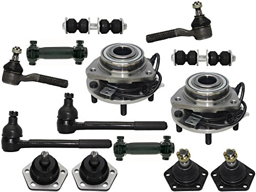 PartsW 14 Pc Front Suspension Kit for Chevrolet GMC Isuzu Oldsmobile/Wheel Bearing and Hub Assembly, Tie Rod Adjusting Sleeves, Inner and Outer Tie Rod Ends, Upper & Lower Ball Joints
