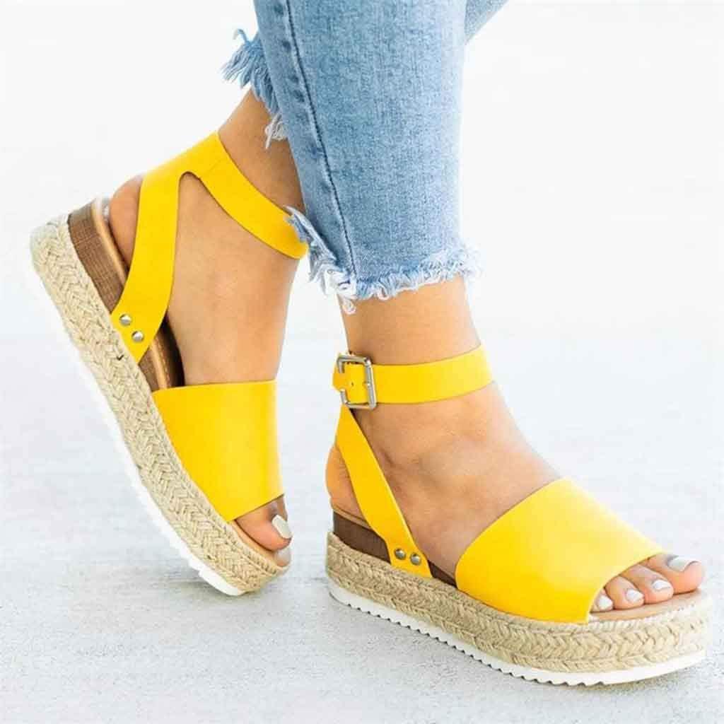 Nevera Women Wedge Sandals Ladies Espadrille Platform Fish Mouth Ankle Strap Sandal Summer Cork Heel Ankle Bootie Shoes