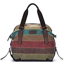 Tiny Chou Women's Canvas Leather Shoulder Bag Handbag Color Block Striped Large Capacity Tote for Travel
