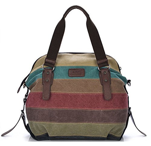Leather Large Hobo Pleated (Tiny Chou Women's Canvas Leather Shoulder Bag Handbag Color Block Striped Large Capacity Tote for Travel)