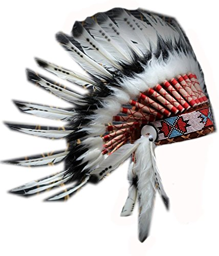 Short Black and White Feather Headdress | Native American Indian Inspired. -