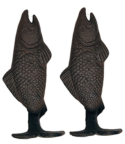 Fishing Decor Cast Iron Fish Wall Hook, Set of 2 - Cast Iron Fish
