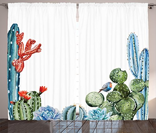"""Ambesonne Cactus Curtains, Cactus Spikes Flowers with Birds Cartoon Style Vintage Like Colored Artwork, Living Room Bedroom Window Drapes 2 Panel Set, 108"""" X 84"""", Blue Green"""