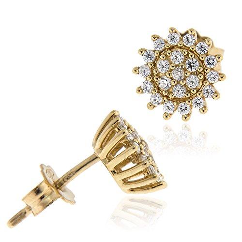 Gioiello ItalianoBoucles d'oreilles en or jaune 18 carats avec zircons