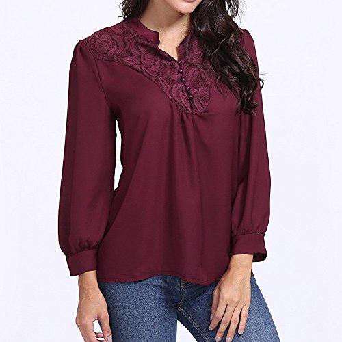 Blouses vin Loose Tunique Tops Shirt Sexy S avec Manches Femme Mousseline 2XL Longues Rond Tissu Solike T Automne Dentelle de Col de lgant Sport Rouge Printemps TZ4qYwaB