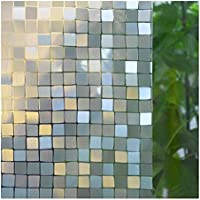 窓 めかくしシート ガラスフィルム 目隠し 断熱 結露防止 紫外線カット リメイク 無接着剤 再利用可能 窓用フィルム シール ステンドグラス 外から見えない 平たなガラス面に適用 モザイクブロック MAXYOYO