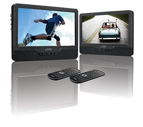 "9"" Inch Twin Screen Portable Dual DVD Player, Rechargable, In Car, Remote, USB"