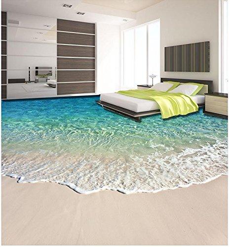 LHDLily 3D Wallpaper Mural Strand Schöne Küstenlandschaft 3D Boden  Wasserdicht Boden Mural Malerei 3D Bodenbelag Badezimmer Dekoration  150Cmx100Cm