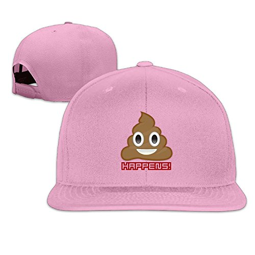 Unisex Emoji Poop Happy Adjustable Snapback Baseball Cap Pink One Size