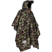 Anyoo Waterproof Military Rain Poncho Lightweight Reusable Hiking Rain Coat Jacket with Hood for Boys Men Women Adults