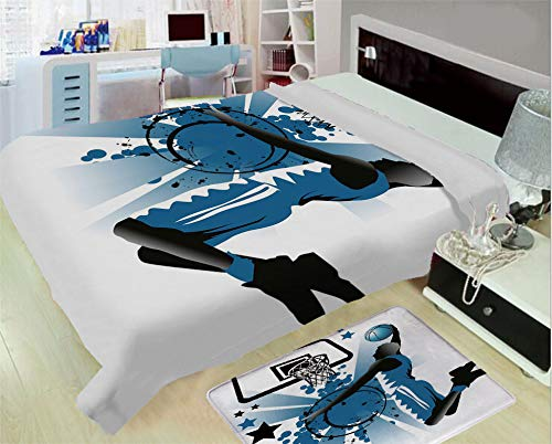 iPrint Super Light and Warm Flannel Warm Sofa or Bed Blanket,Teen Room Decor,Silhouette of Basketball Player Jumping Success Stars Illustration,Black Violet Blue,One Side Printing,Excess Value