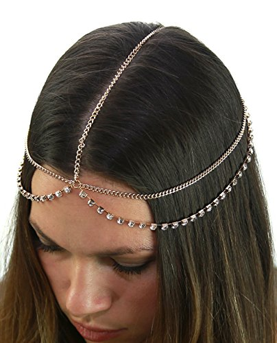 Price comparison product image Women's Bohemian Fashion Head Chain Jewelry - Single Draping Rhinestone Simple Strand, Gold-Tone