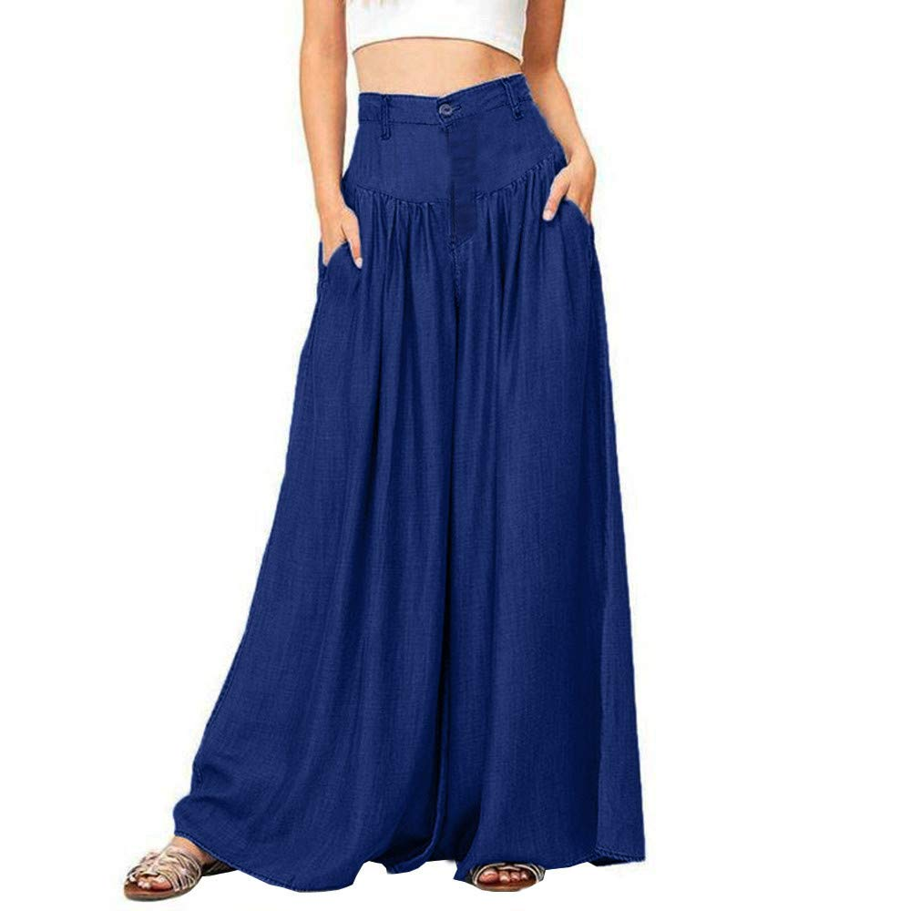 【MOHOLL】 Women's Rayon Spandex High Waist Shirring Maxi Skirt with Pockets Blue by ✪ MOHOLL Pants ➤Clearance Sales