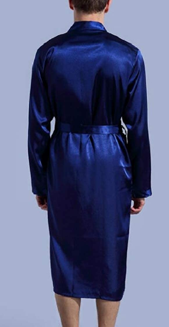 OTW Mens Nightgown Sleepwear Satin Kimono Spa Robe Lightweight Bathrobe