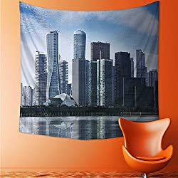 Printsonne Wall Hanging Wall Tapestry Psychedelic Tapestry CBD, a commercial center for urban buildings and high buildings Wall Tapestry for Bedroom Dorm Decor/27.5W x 27.5L INCH