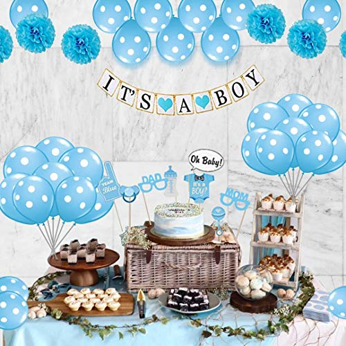 Baby Shower Decorations For Boy 26 Piece kit, Gender Reveal, Happy Party Favors, Supplies and Decorations By Oliveit ()