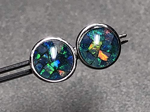 8mm Opal Mosaic Triplet and Sterling Silver Post Earrings - Opal Mosaic Sterling Ring
