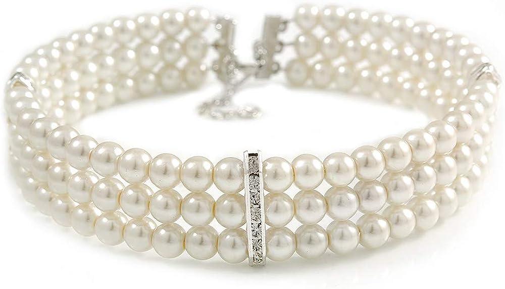 Avalaya - Gargantilla rígida de 3 filas de perlas de cristal de imitación de color blanco con detalles de barra de cristal en tono plateado – 36 cm de largo / 5 cm de extensión