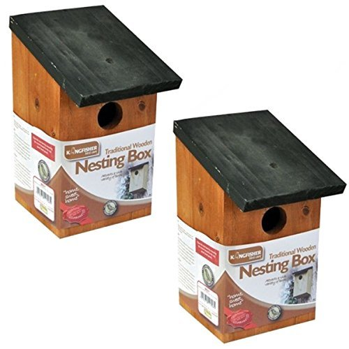 2 X WOODEN NESTING NEST BOX BIRD HOUSE SMALL BIRDS BLUE TIT ROBIN SPARROW Garden Mile®
