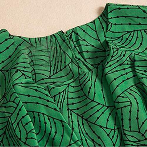 Lunghe Da Abito Xogiuefhrw Con Asimmetrico Maniche Donna Corte Floreale Aderente Green Motivo A wqwY5af