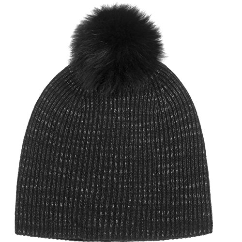 White + Warren Fur Pom Pom Spacedye Rib Beanie - Women's Black Spacedye, One Size by White + Warren