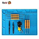 Kaisiking Magnetic Soldering Mat Heat Insulation Silicone Mat Placing Screws Soldering Accessories Kit with 6 Aid Tips Tools, Anti-Static Wrist and 2 Tweezers Repair Work Mat, 13.8 x 9.8 inch