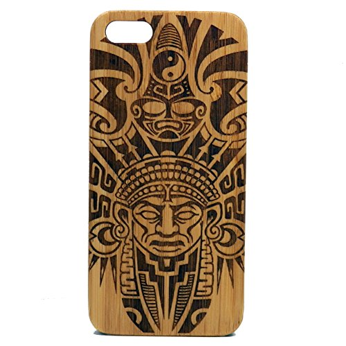 (Aztec Pattern Case for iPhone 5, iPhone 5S and iPhone SE | iMakeTheCase Eco-Friendly Bamboo Wood Cover | Tribal Warrior Mayan Tattoo)