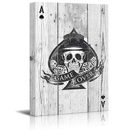 - Poker Cards Canvas Wall Art - Hearts Ace - Sir Skull with Dice and Game Over Banner -