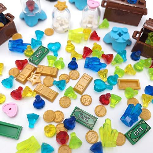Treasure Set $100 Dollar Bill Money Compatible Major Brands Treasure Chest Diamonds Ore Coin Gold Bars Cash Brick Block Building Toy