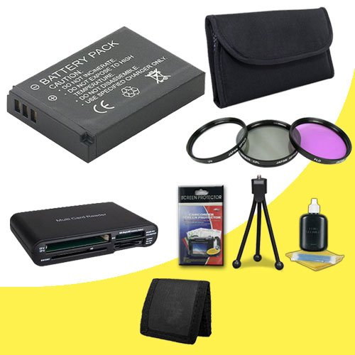 Olympus PEN E-PL2 12.3 MP CMOS Micro Four Thirds Interchangeable Lens Digital Camera BLS5 Lithium Ion Replacement Batteries + 3 Piece Filter Kit + Multi Card USB Reader + Memory Card Wallet + Deluxe Starter Kit DavisMAX Accessory Kit