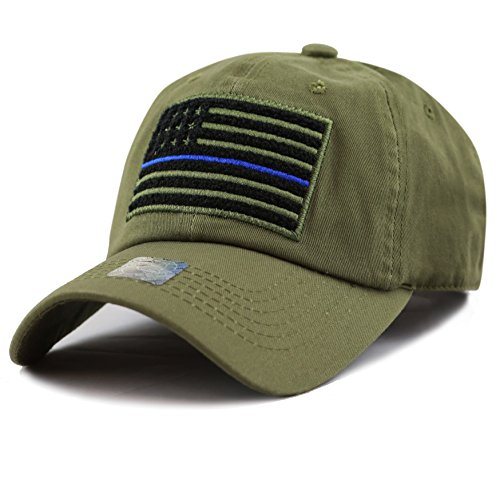 the-hat-depot-low-profile-tactical-operator-usa-flag-blue-line-buckle-cotton-cap-olive